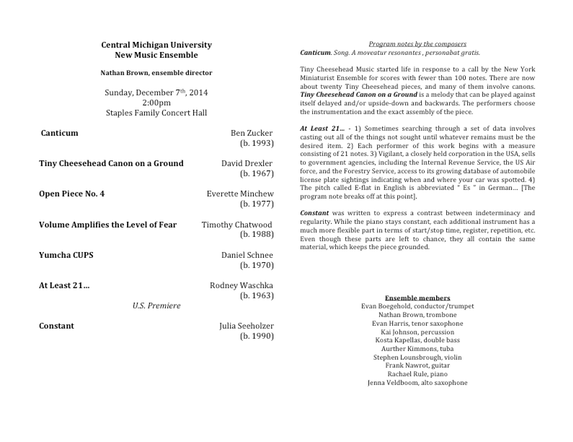 New Music Ensemble Fall 14 program